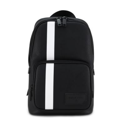 BALLY SIHORN.OF防刮皮革黑白條紋型男拉鍊單肩後背包(黑色)
