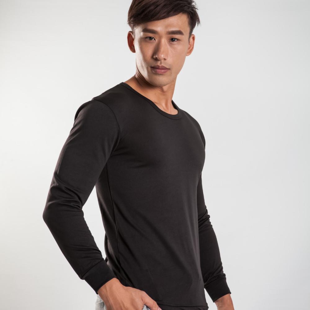 G+居家 男款束口刷毛暖暖衣-圓領-黑色