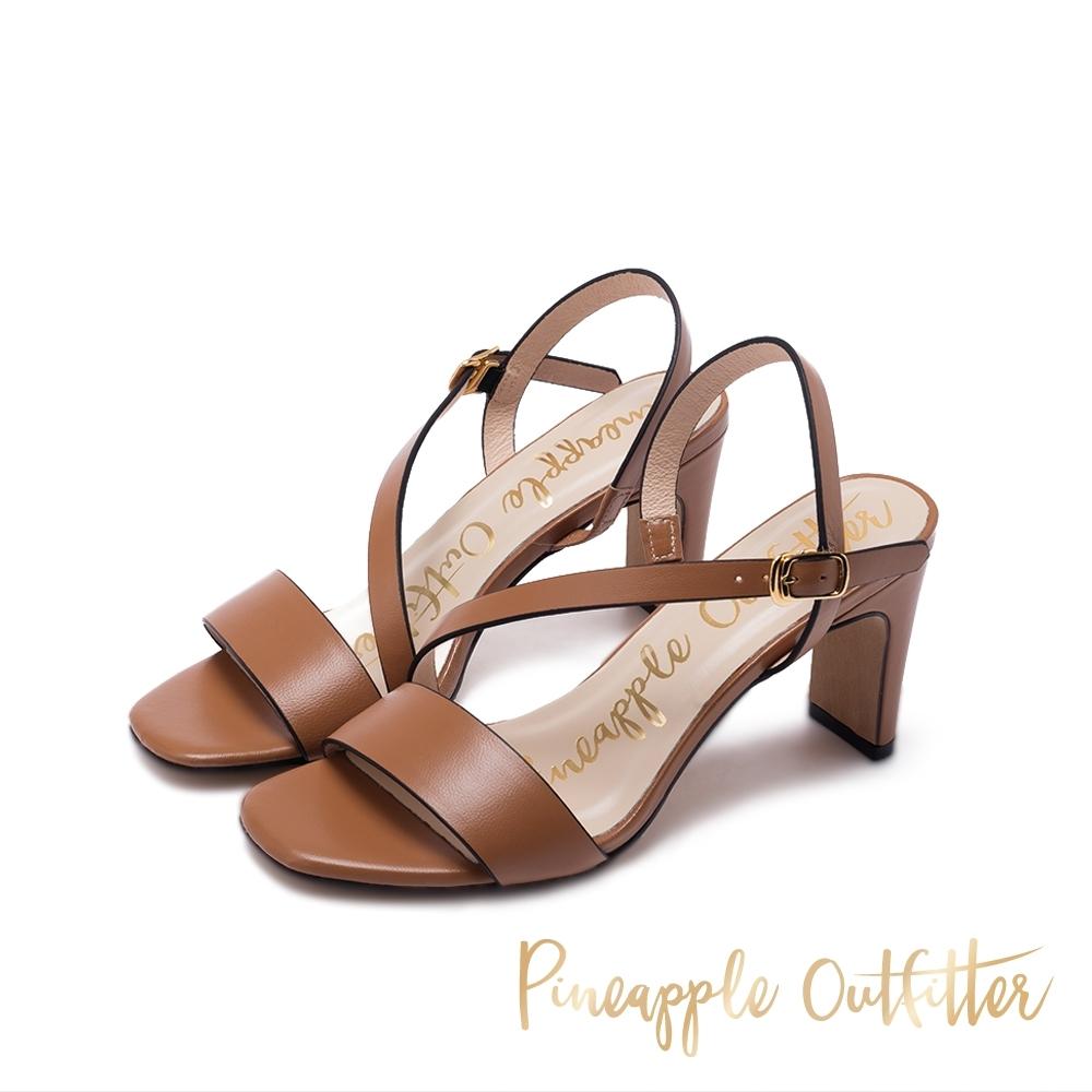 Pineapple Outfitter SANNA 氣質羊皮繫帶高跟鞋-卡其棕
