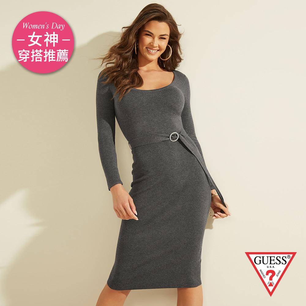 GUESS-女裝-時尚圓領收腰綁帶針織洋裝-灰 原價3490