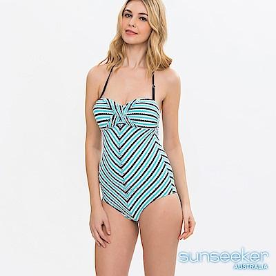 澳洲Sunseeker泳裝立體緹花條紋連身式泳衣-藍