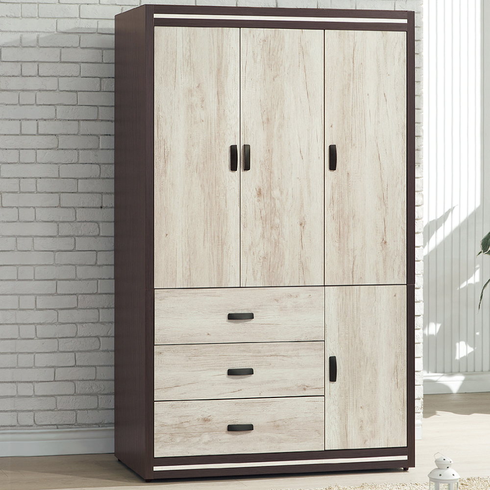 AS-阿奇柏德雙色4x7尺衣櫃-120x56x202cm