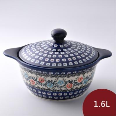 波蘭陶 典雅花團系列 陶鍋 1.6L 波蘭手工製