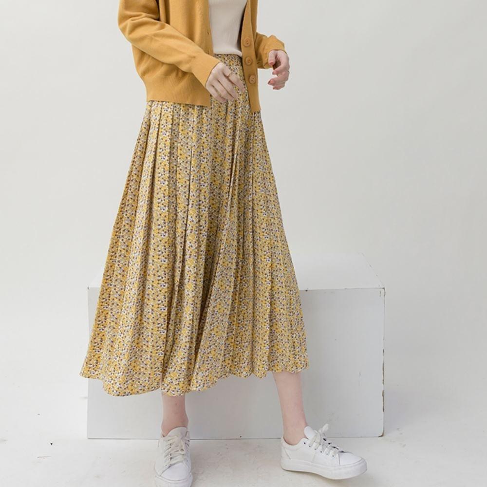 La Belleza鬆緊腰小花朵朵碎花壓折百摺裙大擺裙(有內襯) product image 1