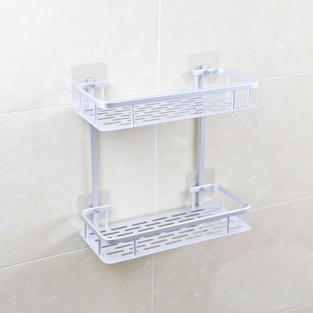 【索樂生活】太空鋁無痕壁貼雙層收納置物架(太空鋁置物架 無痕螺絲貼 浴室轉角免打孔置物架)