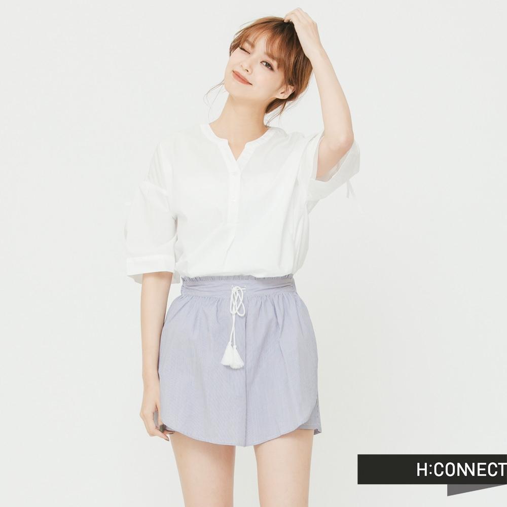 H:CONNECT 韓國品牌 女裝 - 小V領綁結襯衫 - 白(快)