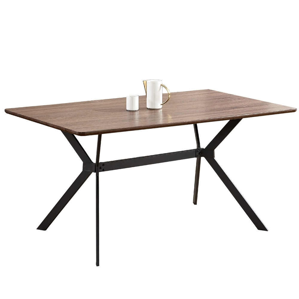 【AT HOME】現代簡約5尺胡桃色鐵藝餐桌/工作桌/休閒桌/洽談桌/辦公桌(馬克蒂)