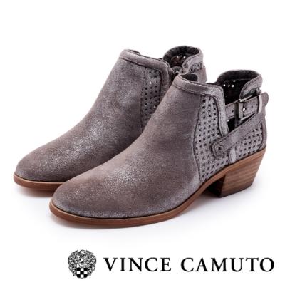 VINCE CAMUTO 西部感編織金屬扣中跟踝靴-金屬鐵色