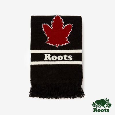 ROOTS配件- 加拿大系列長條圍巾-黑色