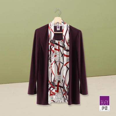 ILEY伊蕾 彈性絲巾外套假兩件上衣(紫)