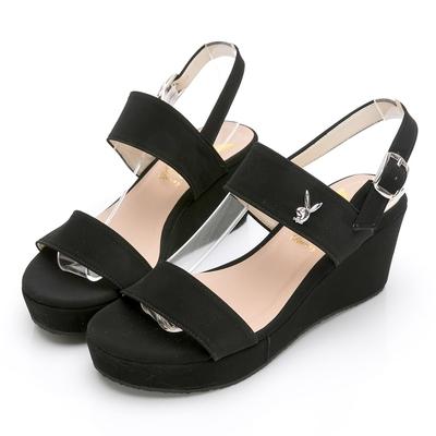 PLAYBOY 玩美小時光 一字帶楔型增高涼鞋-黑-YD7323CC