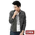 EDWIN 襯衫 經典雙袋牛仔襯衫-男-黑色