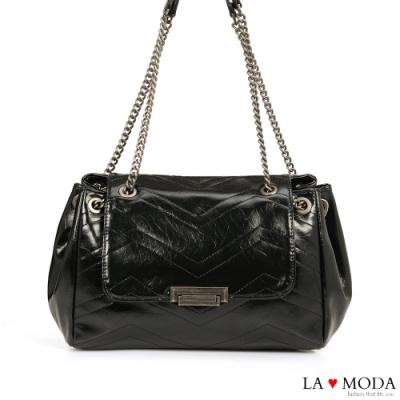 La Moda 高雅時尚超大容量多種背法肩背斜背鍊帶包(黑)