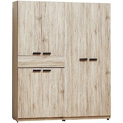 文創集 利森時尚5.1尺六門單抽衣櫃/收納櫃組合-152x57.5x197cm免組
