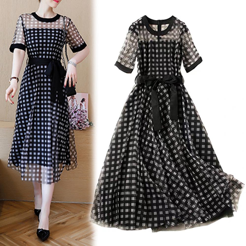 【韓國K.W.】撩人時尚暖意時刻短袖洋裝