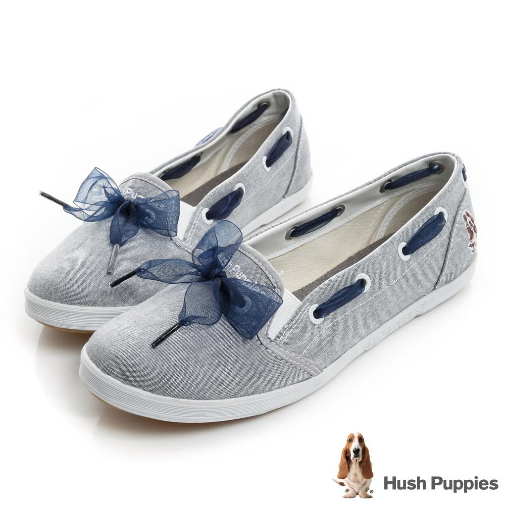 Hush Puppies 緞帶蝴蝶結咖啡紗甜心娃娃鞋-淺藍色