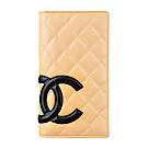 CHANEL香奈兒經典康朋系列菱格紋羊皮直立對折長夾(展示品/黑/米底)