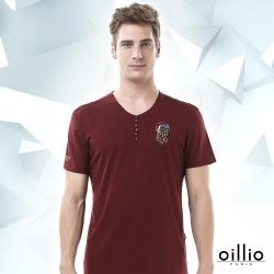 oillio歐洲貴族 短袖T恤 裝飾鈕扣 圖騰圖樣 紅色