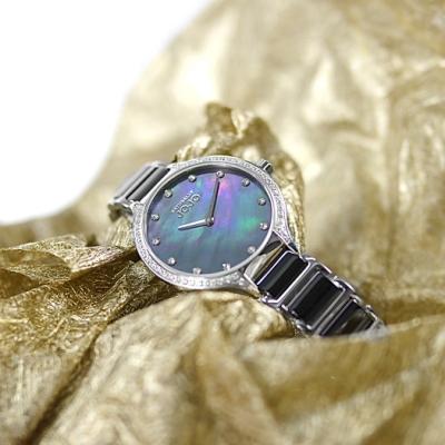 NATURALLY JOJO / 優雅簡約 珍珠母貝 晶鑽 陶瓷不鏽鋼手錶-黑色/34mm
