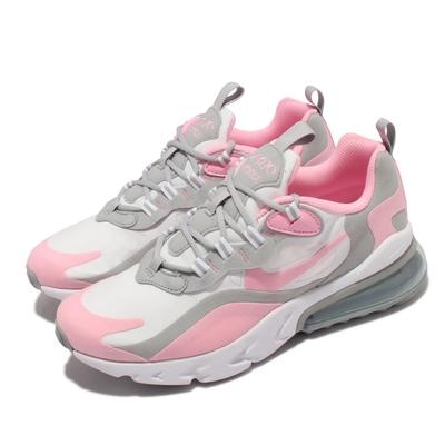 Nike 休閒鞋 Air Max 270 React 女鞋 氣墊 舒適 React避震 大童 球鞋穿搭 粉白 BQ0103-104