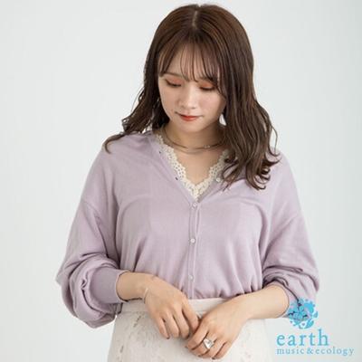 earth music 涼感定番圓領開襟罩衫