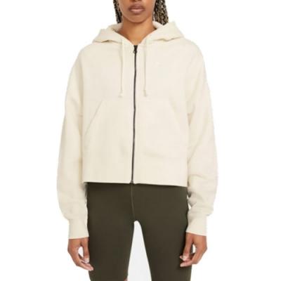 Nike NSW FZ FLC TREND 女連帽外套  短版-奶茶色 -CK1506113