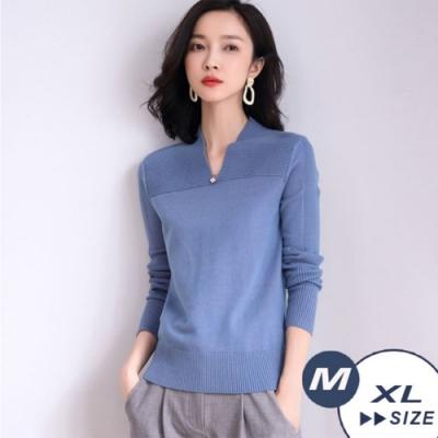 【LANNI 藍尼】優雅V領針織上衣-4色(M-XL)●