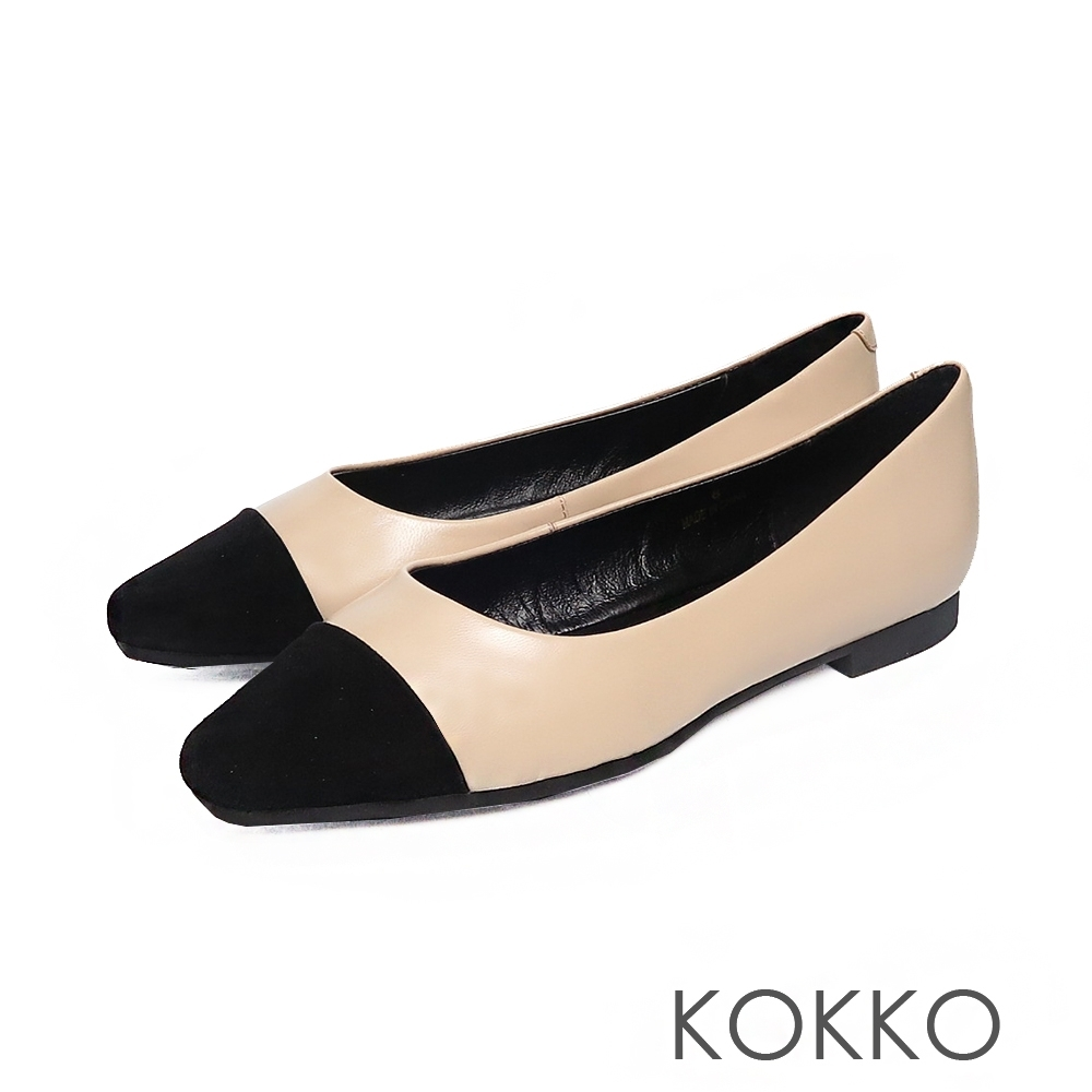 KOKKO - 似水流年拼接方頭平底鞋 - 純真杏