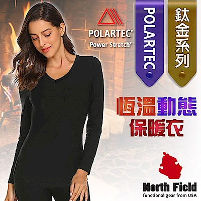 North Field 女 Polartec  V領控溫強刷毛保暖衛生衣_黑色