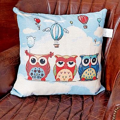 凱蕾絲帝-居家沙發車用-緹花方形抱枕/靠枕(45CM)-熱氣球貓頭鷹(二入)