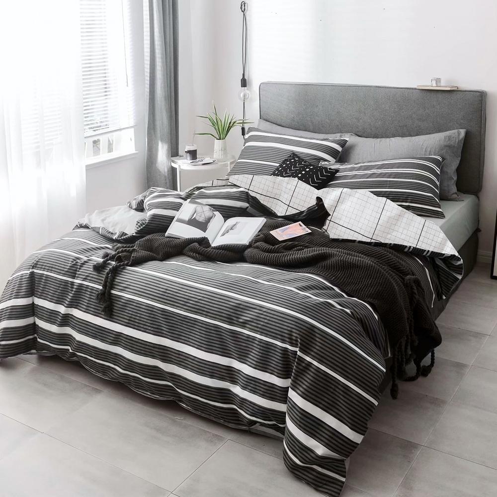 A-ONE 100%純棉-黑白H系列-純棉兩用被-黑色調調