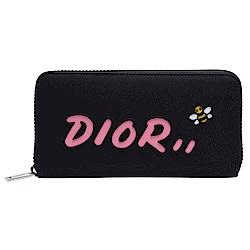 Dior 限量KAWS聯名款粉色LOGO蜜蜂圖案尼龍拉鍊長夾(黑)