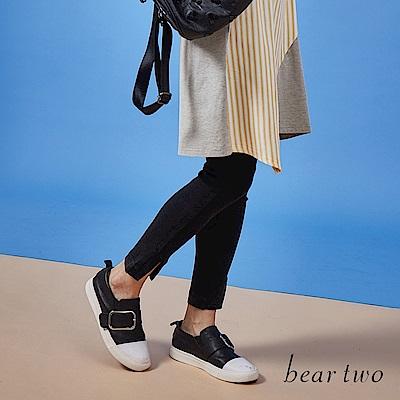 beartwo-褲管開岔合身牛仔褲-黑