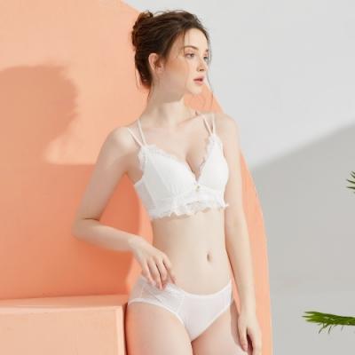 Olivia 無鋼圈蕾絲美背內衣+褲套組-白色