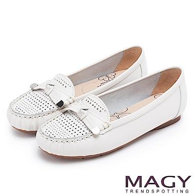 MAGY 經典甜美舒適 牛皮洞洞平結平底鞋-白色