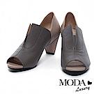 高跟鞋 MODA Luxury 俐落剪裁撞色拼接牛皮魚口高跟鞋-灰