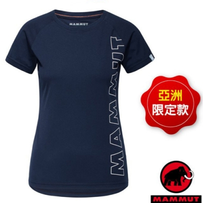 長毛象 女款 QD Logo Print AF 吸濕快乾彈性圓領短袖排汗衣.T恤_海洋藍 PRT4