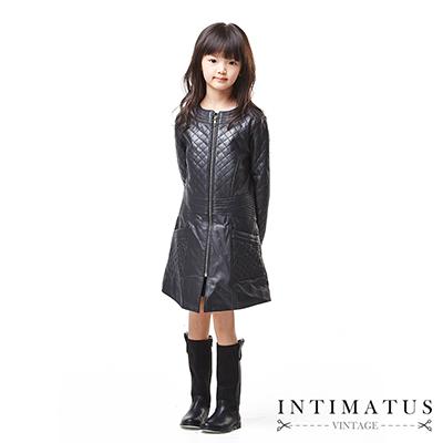 INTIMATUS 真皮 菱格拼接長版皮衣 女童裝 黑色