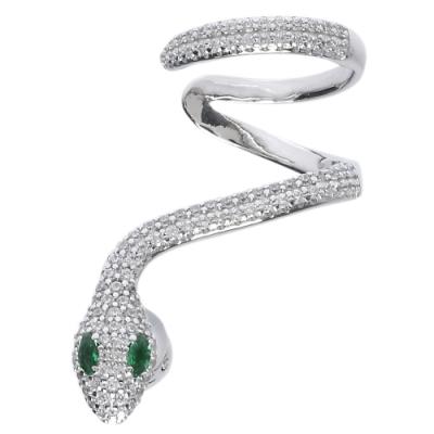 apm MONACO JUNGLE系列925銀水鑽鑲飾綠眼蛇形耳骨環繞穿式耳環(銀)