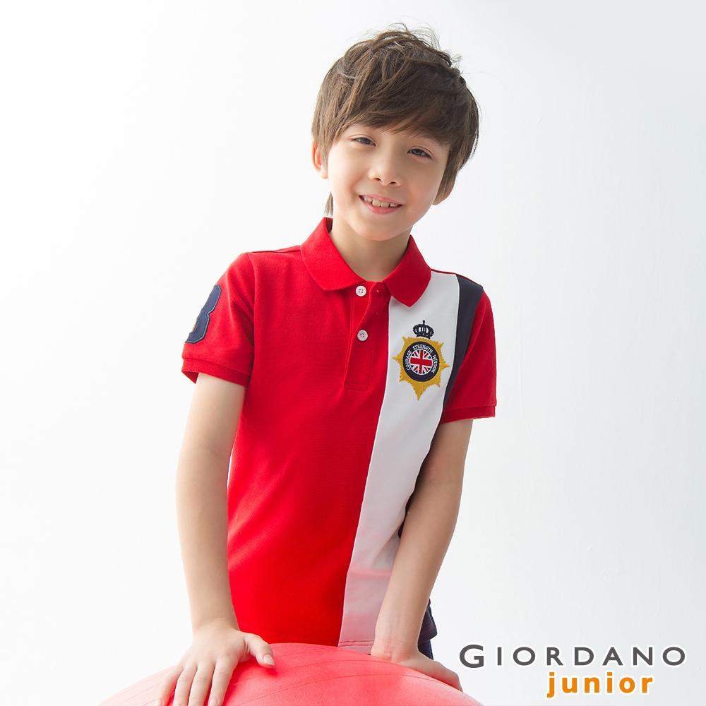 GIORDANO 童裝UNION JACK系列短袖POLO衫-36 高貴紅