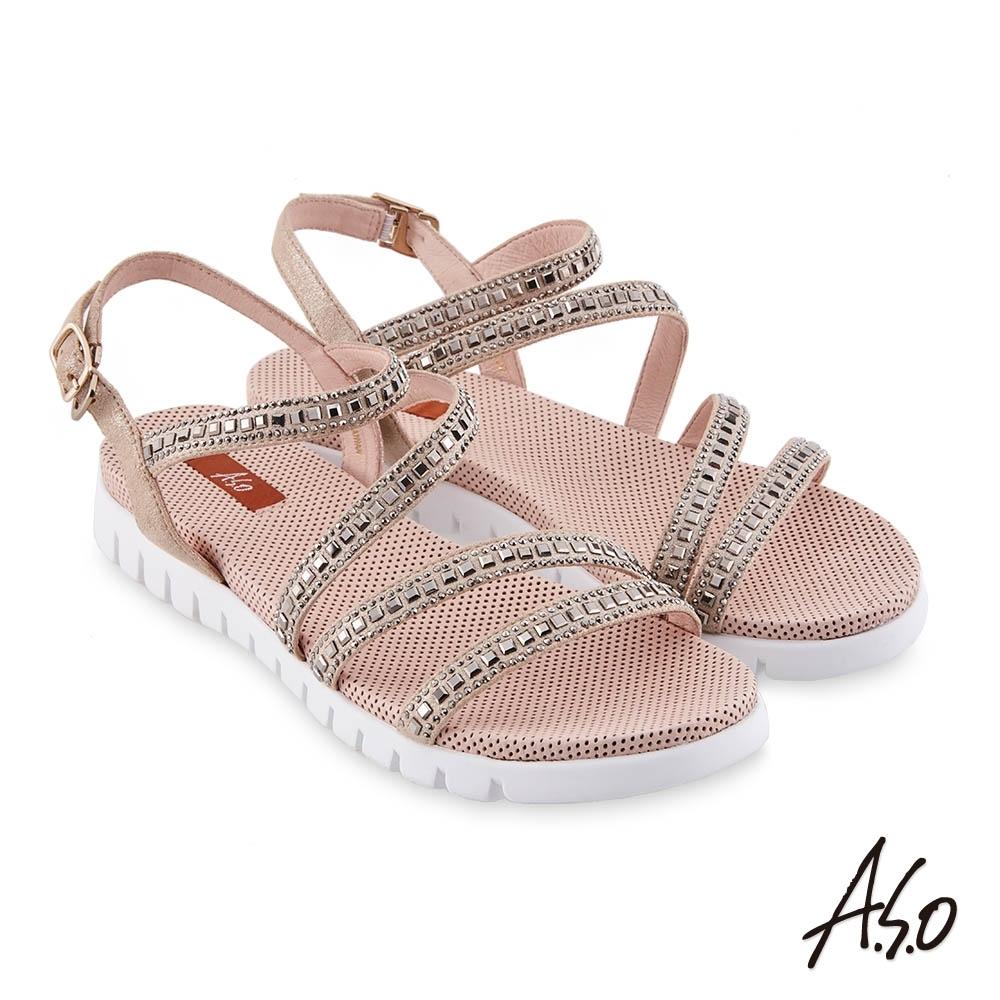 A.S.O時尚流行 夏季輕量條帶燙鑽休閒涼鞋-金