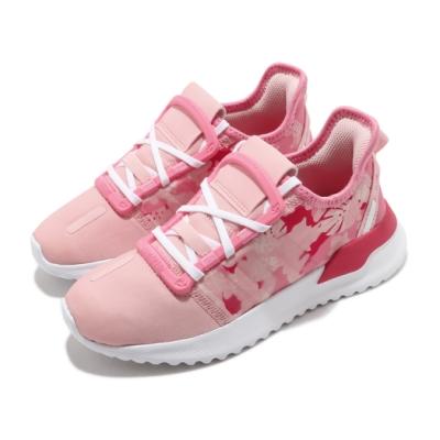 adidas 休閒鞋 U Path Run C 襪套 童鞋 愛迪達 三線 花卉 運動 穿搭 中童 粉 白 FV1825