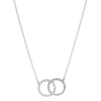 Pandora 潘朵拉 PANDORA標誌雙圈鑲鋯 925純銀項鍊