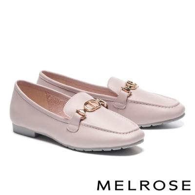 低跟鞋 MELROSE 質感時尚飾釦方頭樂福低跟鞋-粉