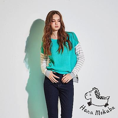 Hana+花木馬 無印簡約條紋印花拼接前短後長麻✕棉粗針織造型上衣-綠(共2色)