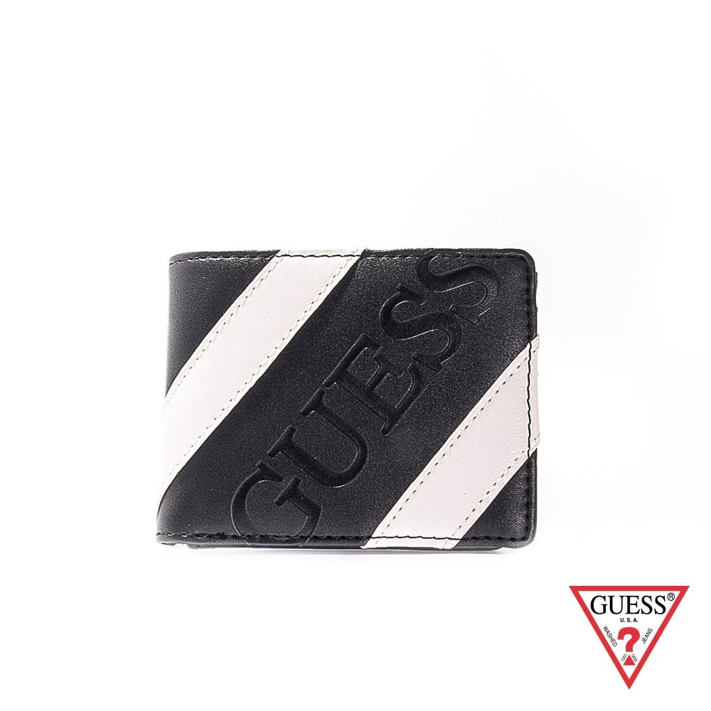 GUESS-男夾-黑白斜紋皮革短夾-黑