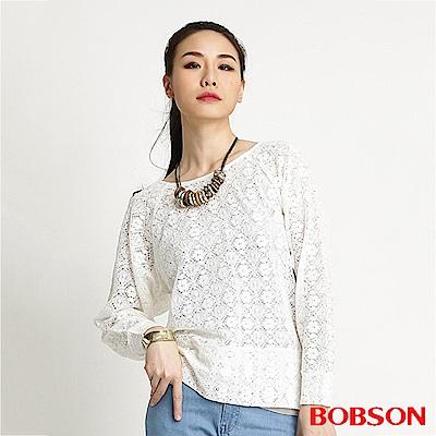 【BOBSON】女款蕾絲網布長袖上衣(米白81)