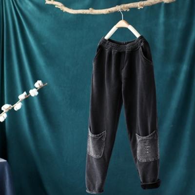 黑色棉質破洞鬆緊腰加絨休閒寬鬆加厚哈倫長褲-設計所在