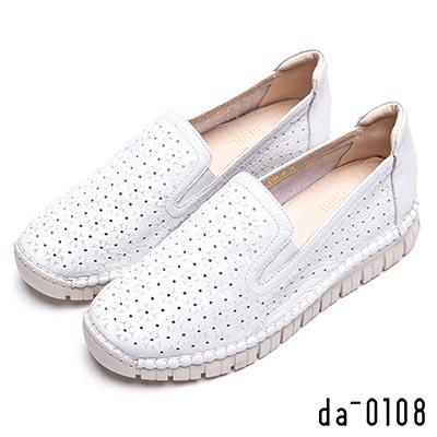 da0108 簡約樂活-牛皮沖孔軟Q休閒鞋-白