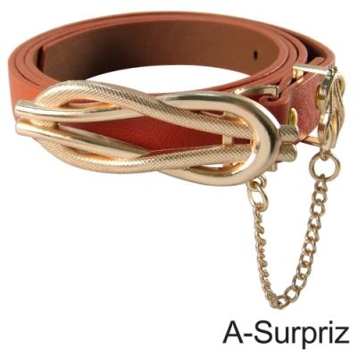 A-Surpriz 氣質佳人8字型金屬叩環垂鍊腰帶(橘)